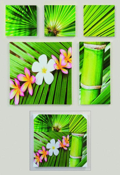 buddha wandbild set 5 teilig bambus lotusbl te. Black Bedroom Furniture Sets. Home Design Ideas