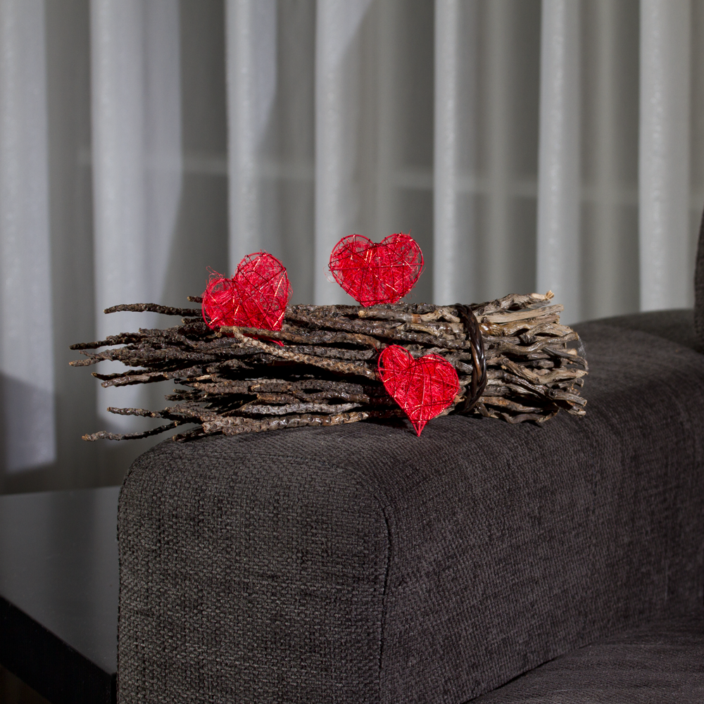 sisal herz mit draht rot f r tischdeko. Black Bedroom Furniture Sets. Home Design Ideas