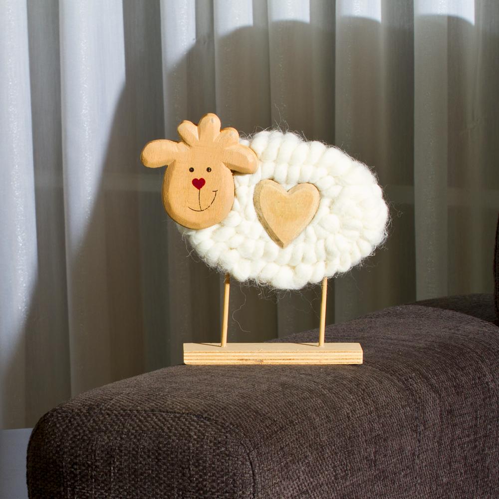 Deko Schaf Aus Holz Und Wolle ~ Schaf aus Wolle und Holz, cremefarben